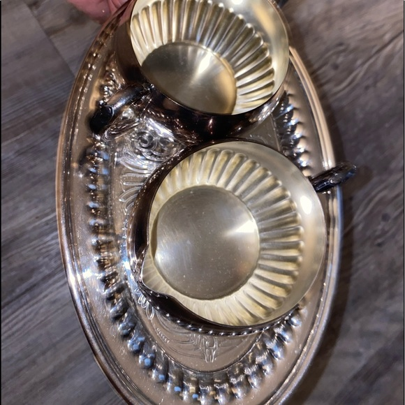 Other - Real silver cream and sugar tray